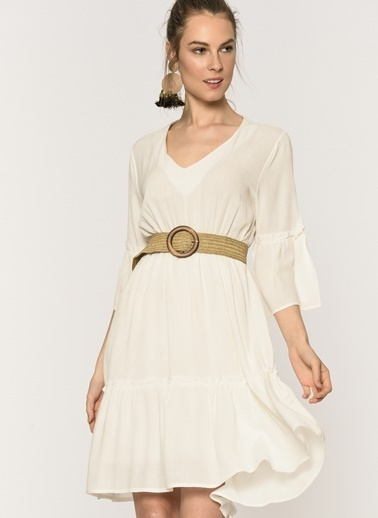 Loves You Volan Detaylı Krinkıl Elbise Beyaz